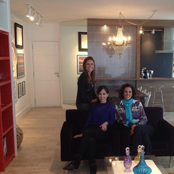 Carol Porto gravando Casa e Cia com Gisela dos Santos e Rosa Estrella