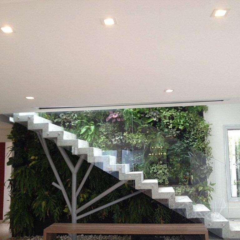 jardim vertical escada:Desta forma, com a iluminação solar indireta há uma melhora